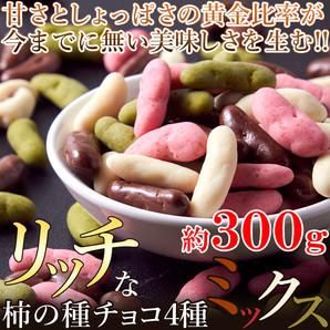 ※2019/3/20販売終了※【ゆうメール出荷】4種類の味で後引く甘辛さ!!リッチな柿の種チョコミックス4種300g